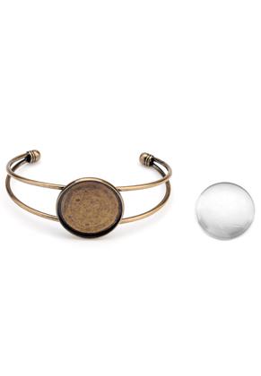 www.sayila.nl - Metalen cuff armband met kastje en 25mm cabochon