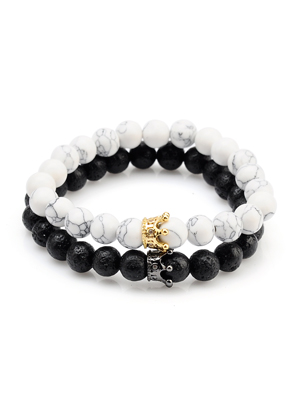 www.sayila.com - Set of natural stone distance bracelets lava rock/Pelelith