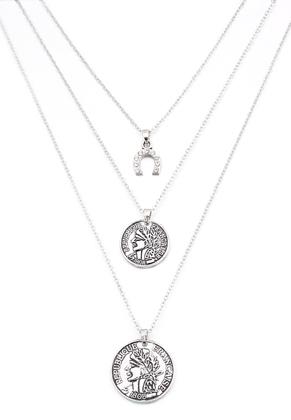 www.sayila-perlen.de - Geschichtete Halskette mit Münzen 45-50cm
