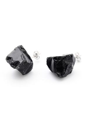 www.sayila.be - Natuursteen oorstekers Black stone 20-30x13-20mm