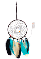 www.sayila.com - Pendant dreamcatcher with feathers and LED lights 44x16cm - J07302