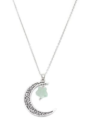 www.sayila-perlen.de - Halskette mit Mond und Stern Naturstein Green Aventurine 60-65cm
