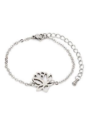 www.sayila.com - Stainless steel bracelet with lotus 17-20cm