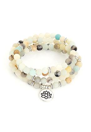 www.sayila.com - Wrap bracelet with natural stone Amazonite and lotus 19cm