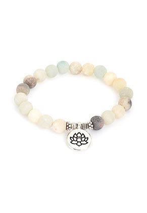 www.sayila.com - Natural stone bracelet Amazonite with lotus, stretchable 19cm