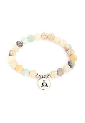 www.sayila.com - Natural stone bracelet Amazonite with Buddha, stretchable 19cm