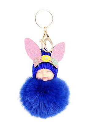 www.sayila-perles.be - Porte-clés avec boule de peluche bébé