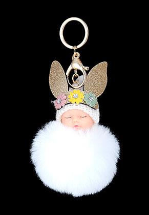 www.sayila.com - Key fob with fluff ball baby