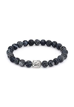 www.sayila.nl - Natuursteen armband Agate crackle met Boeddha 19cm