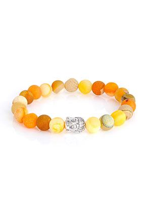 www.sayila-perlen.de - Naturstein Armband Agate crackle mit Buddha 19cm