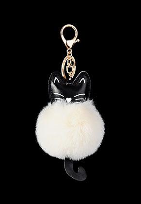 www.sayila-perlen.de - Schlüsselanhänger mit Flusenkugel Katze