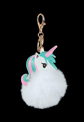 www.sayila.com - Key fob with fluff ball unicorn