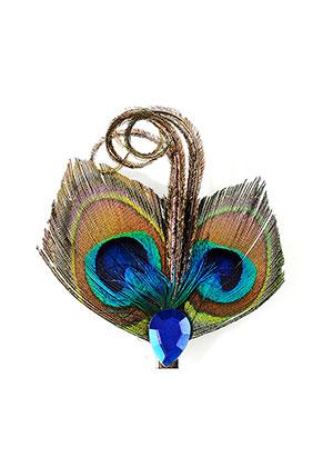www.sayila.fr - Broche/épingle à cheveux avec plumes de paon 8x7,5cm