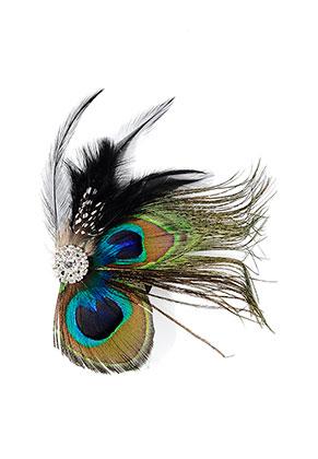 www.sayila.com - Brooch/hairpin with peacock feathers 13x12cm