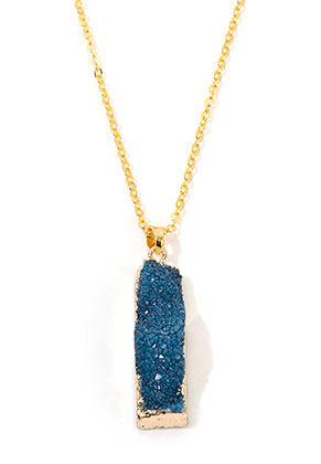 www.sayila-perlen.de - Halskette mit Naturstein Anhänger Crystal Rechteck 45-50cm