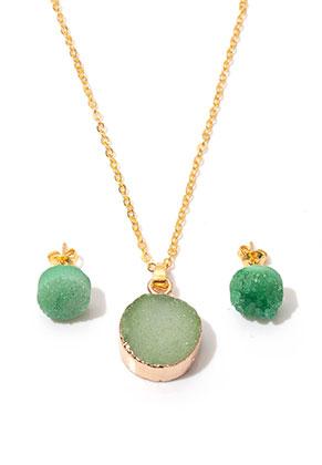 www.sayila.be - Set van natuursteen halsketting en oorstekers Crystal