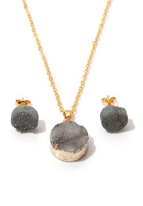 www.sayila-perlen.de - Set von Naturstein Halskette und Ohrsteckers Crystal