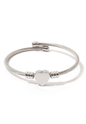 www.sayila.com - Stainless steel bangle bracelet open with heart 20cm