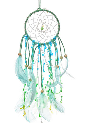 www.sayila.com - Pendant dreamcatcher with feathers and LED lights 47x11cm