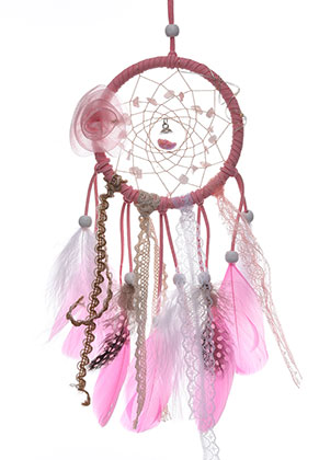 www.sayila.com - Pendant dreamcatcher with feathers and LED lights 38x10cm