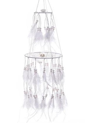 www.sayila.es - Colgante atrapasueños con plumas y lámparas LED 80x15cm