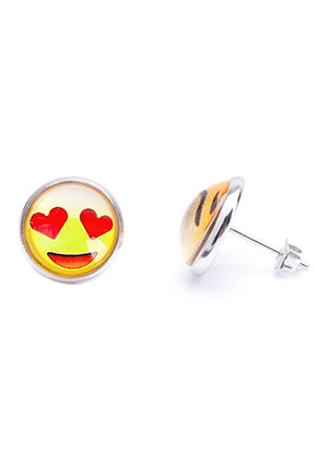 www.sayila.com - Metal ear studs with emoji 17x14mm