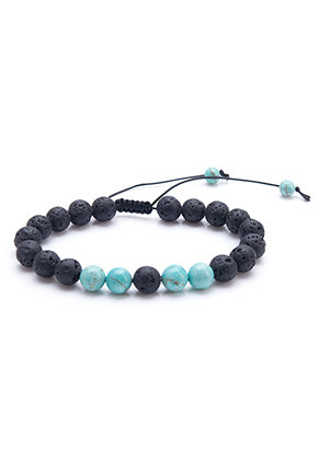www.sayila.co.uk - Natural stone bracelet Turquoise Howlite and lava rock/Pelelith 19-29cm