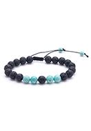 www.sayila-perles.be - Bracelet en pierre naturelle Turquoise Howlite et pierre de lave/Pelelith 19-29cm - J07954