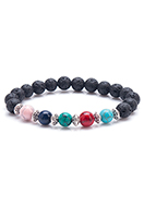 www.sayila.com - Natural stone bracelet Turquoise Howlite and lava rock/Pelelith 18cm - J07957