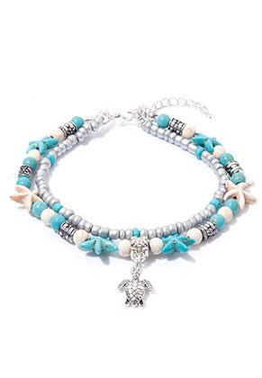 www.sayila.com - Bracelet/anklet with starfish and turtle 21-26cm