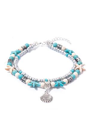 www.sayila.fr - Bracelet/bracelet de cheville avec étoiles de mer et coquillage 21-26cm