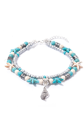 www.sayila.com - Bracelet/anklet with starfish and shell 21-26cm