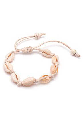 www.sayila-perlen.de - Armband mit Wachsschnur und Muscheln 16-29cm