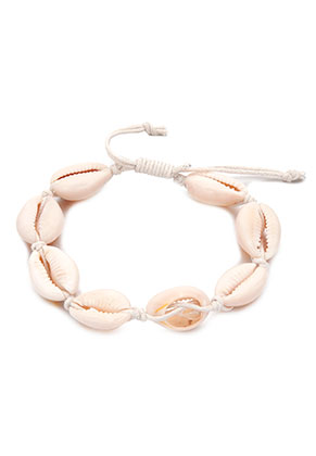 www.sayila.com - Bracelet with wax cord and shells 19-25cm
