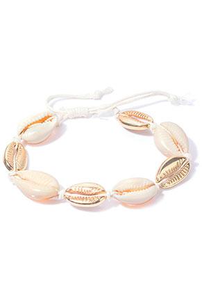 www.sayila-perlen.de - Armband mit Wachsschnur und Muscheln 20-25cm