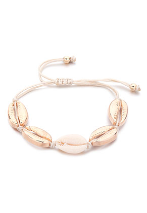 www.sayila-perlen.de - Armband mit Wachsschnur und Muscheln 14-30cm
