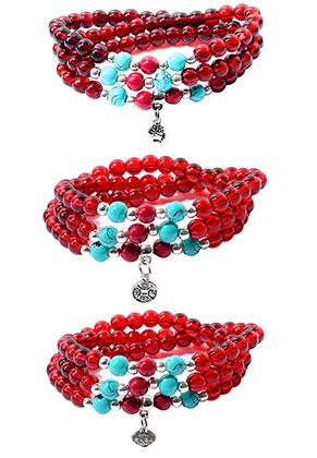 www.sayila.fr - Ensemble de bracelets wrap avec perles en verre 17cm