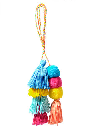 www.sayila.nl - Ibiza Style hanger/sleutelhanger met kwastjes en pompons