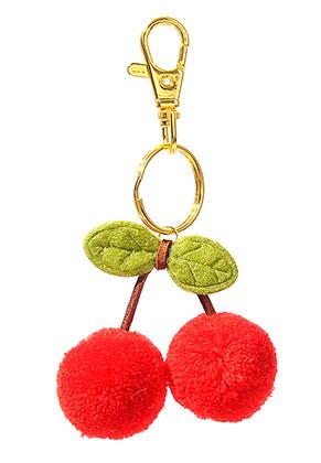 www.sayila-perlen.de - Schlüsselanhänger mit Pompons Kirschen