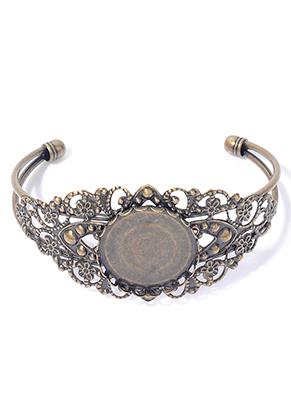 www.sayila.nl - Metalen cuff armband 19cm met kastje voor 25mm plaksteen ^