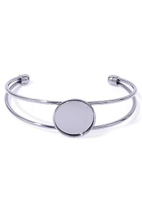 www.sayila.nl - Metalen cuff armband 19cm met kastje voor 20mm plaksteen