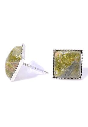 www.sayila.co.uk - Natural stone ear studs Unakite square 17x11mm