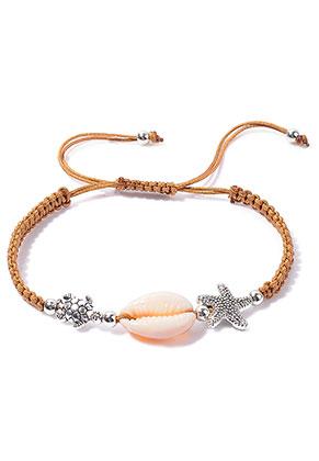 www.sayila-perlen.de - Makramee-Armband mit Muschel 15-27cm