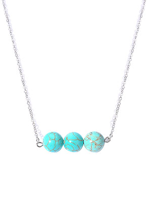 www.sayila.com - Necklace with natural stone beads Turquoise Howlite 45-50cm