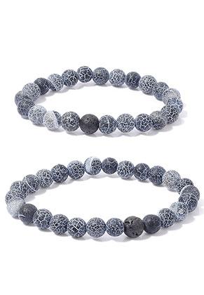 www.sayila.com - Set of natural stone distance bracelets Agate/Lava rock 19+21cm