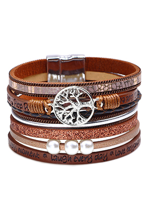 www.sayila.com - Imitation leather bracelet with tree and beads 19cm