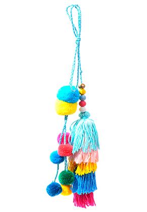 www.sayila.nl - Ibiza Style hanger/sleutelhanger met kwastjes en pompons 30x9cm