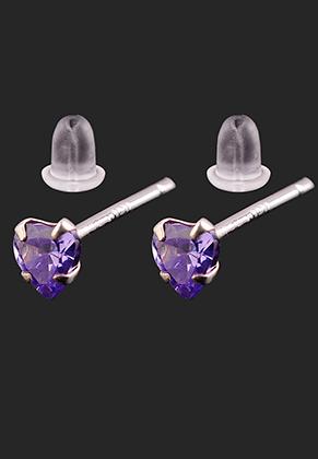 www.sayila.nl - 925 Zilveren oorstekers met zirkonia hartje 12,5x3mm