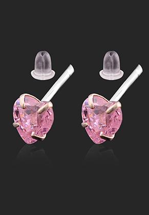 www.sayila.nl - 925 Zilveren oorstekers met zirkonia hartje 13x4mm