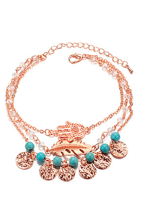 www.sayila.com - Bracelet/anklet with hand of Fatima and feather 20-25cm